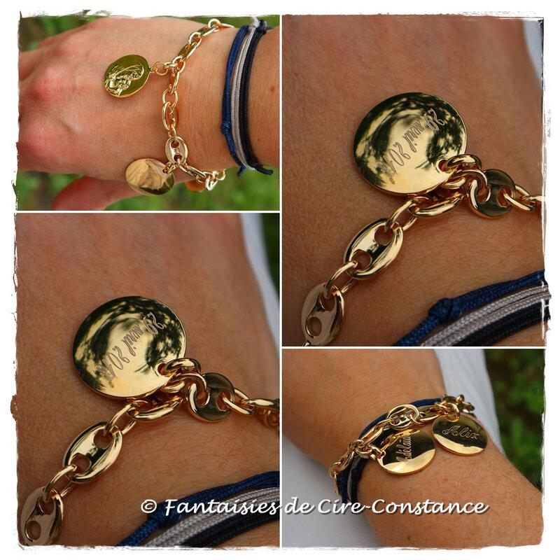Bracelet grains de café plaqué or médailles 20 mm