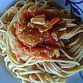 Spaghettis au pesto de poivrons