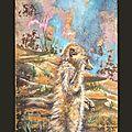 SOUCI DE SURICATE Ghislaine Letourneur peinture sur bois coffrage huile - Suricate painting on wood - Peintures animaux sauvages - Vopsea pe lemn