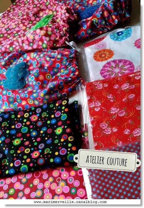 tissus de couleur et pochons marimerveille