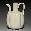 A glazed white ware lobed ewer, liao dynasty, 11th century