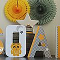 Lettres prénom thème Hibou en jaune et gris