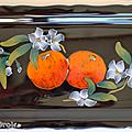 Vaisselle ... PLAT à CAKE <b>LONGWY</b> * Fleurs d'oranger