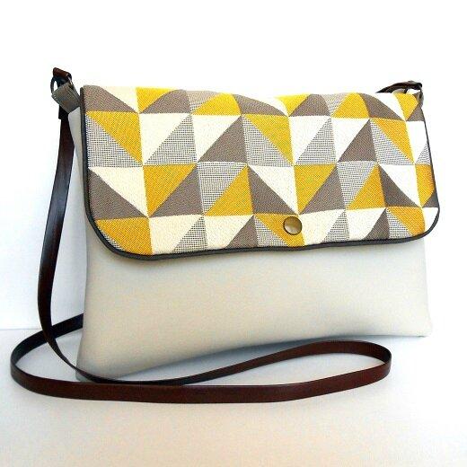 Sac bandoulière rectangle triangle jaune gris1
