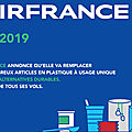<b>Air</b> <b>France</b> s'engage à supprimer 210 millions d'articles en plastique à usage unique d'ici fin 2019
