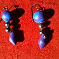 Perles et gouttes bleu et violette
