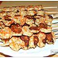 Brochettes de crevettes au curry et au lait de coco