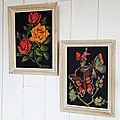 Jolis canevas roses & papillons sous cadre : pour une <b>décoration</b> <b>vintage</b>