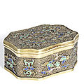 A very rare documentary enamelled silver-gilt filigree oblong octagonal snuff box and cover, 18th-early 19th century