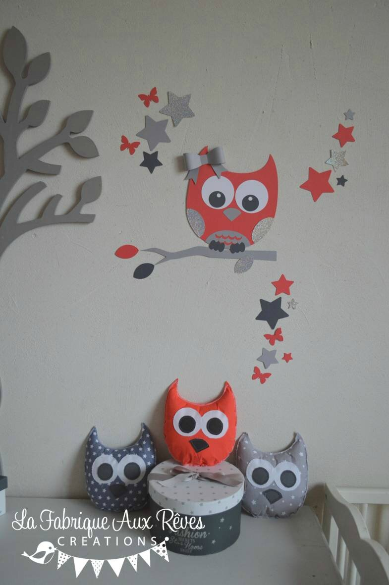 d coration chambre b b corail gris argent hibou chouette toiles photo de 13 stickers. Black Bedroom Furniture Sets. Home Design Ideas