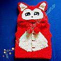 Manteau renard rouge avec ou sans manches tricoté avec la laine doudou