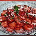 Carpaccio de fraises à la menthe-chocolat