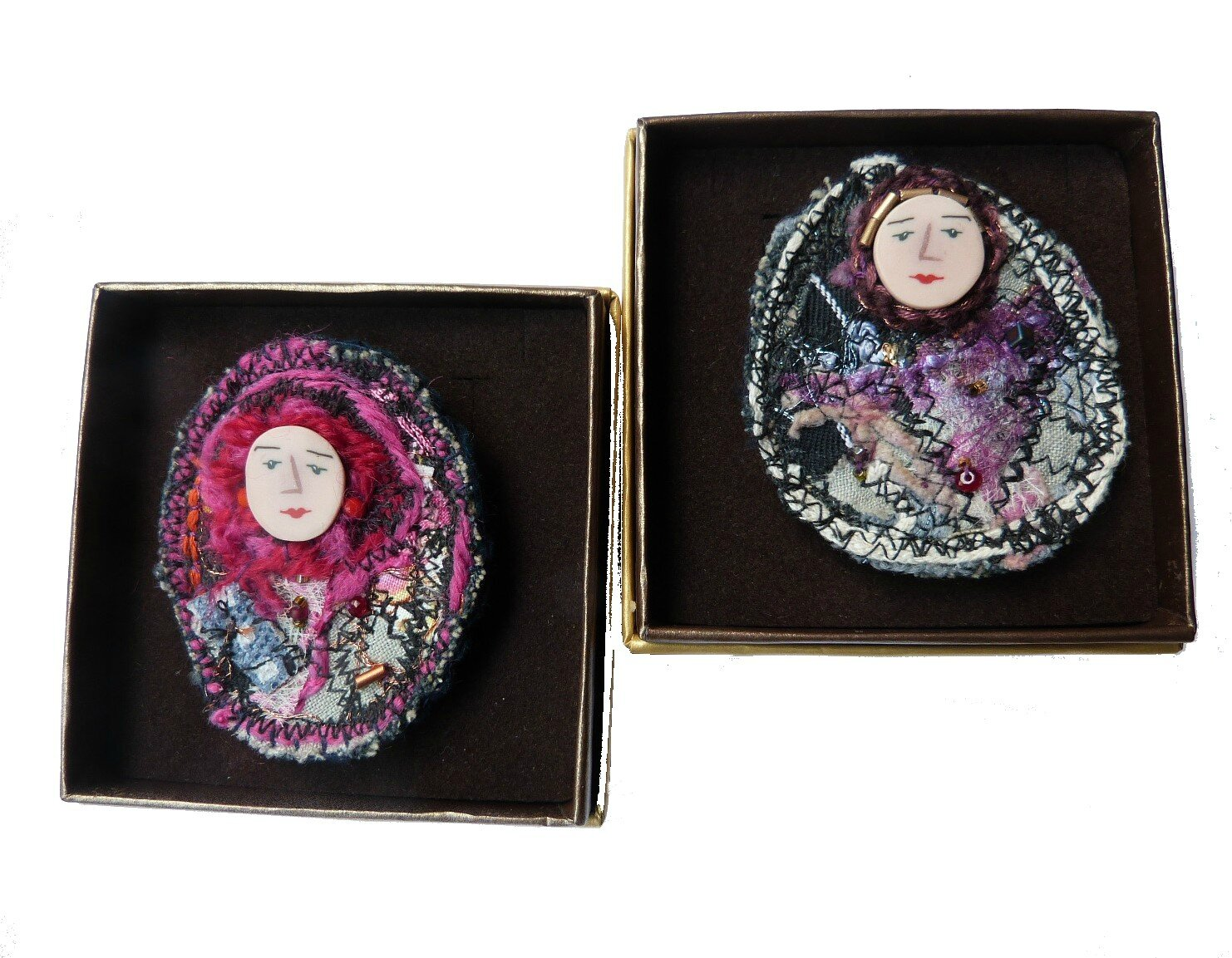chifonie broches personnage textile