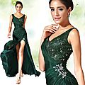 <b>Look</b> du <b>Jour</b> ------Robe de Soirée Verte Foncée Avec Haute Fendue !!!