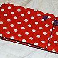 24. pochette I-phone toile enduite rouge à pois - violet