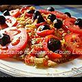 Salade d'aubergine et poivrons