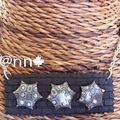 Collier maxi plaque briques noire et étoiles grises ROCK n° 2 (N)