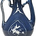 A blue-glazed and slip-decorated ewer, Late Ming dynasty
