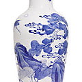 A blue and white 'deer and crane' baluster vase, qing dynasty, kangxi period (1662-1722)