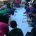 Réalisation de la fresque avec les enfants de l'as. Aadh Ljadid