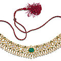A <b>gem</b>-<b>set</b> <b>and</b> <b>enamelled</b> necklace, North India, late 19th-early 20th century