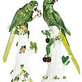 A Pair of Meissen Indian Ring-Necked Parakeets, circa <b>1741</b> - Sotheby's