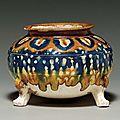 A blue, amber and <b>straw</b>-<b>glazed</b> <b>pottery</b> tripod censer, Tang dynasty (618-907)