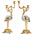 A fine pair of cloisonné enamel cranes, Mid-Qing Dynasty, with French Barbedienne-style <b>gilt</b>-<b>bronze</b> mounts