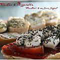 Tartines Tomates-Mozza & Chèvre-miel-herbes de provence