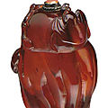 A carved amber snuff bottle, 1750-<b>1880</b>