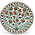 An <b>Iznik</b> <b>pottery</b> <b>dish</b>, Ottoman Turkey, circa 1560