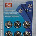 Bouton pression à coudre argent 15 mm
