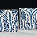 Deux carreaux <b>bleu</b> et <b>blanc</b>, Mamelouk, premier quart du 15ème siècle