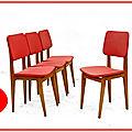 Chaises vintage skaï rouge et noir 1950