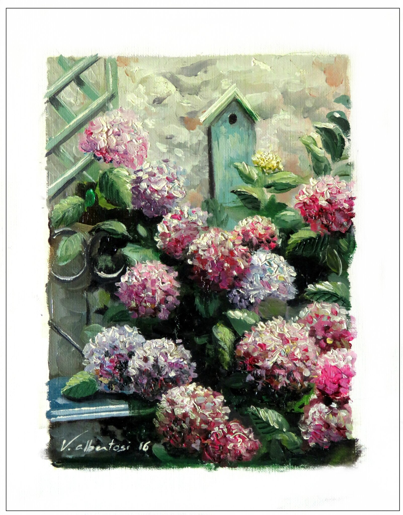 french garden oil color painting hydrangeas valerie albertosi hortensias romantique
