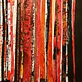 Forêt #17, 2011, acrylique, collage et coulures sur papier, 45 x 32 cm