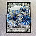♥ armance ♥ broche fleurs potirons les yoyos de calie tissu bleu et dentelle
