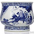 A blue and white daoist immortal censer, china, kangxi period