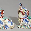 The Palmela <b>Kakiemon</b> Elephants. A pair of fine and rare <b>Kakiemon</b> elephants, Edo period, late 17th century