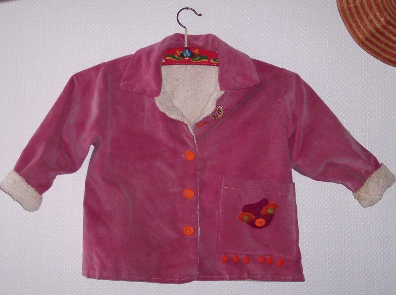veste velours rose