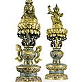 Two important and rare <b>Imperial</b> <b>Chinese</b> cloisonné Buddhist altar pieces, Qianlong period (1736-1795)