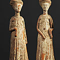 Deux <b>dames</b> de <b>cour</b>, Chine, Dynastie Tang, ca 7° siècle