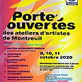 Portes Ouvertes des Ateliers d'Artistes de Montreuil 2020 - 9, 10, 11 octobre 2020