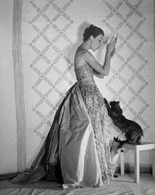 Cristobal Balenciaga, Mary Jane Russell in gown, photo by Louise Dahl-Wolfe