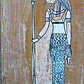 Antiquité Egyptienne Apedemak : Dieu lion dessin sur papier kraft