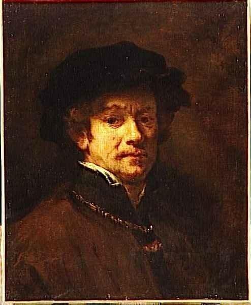 01 - Rembrandt avec toque et chaîne d'or