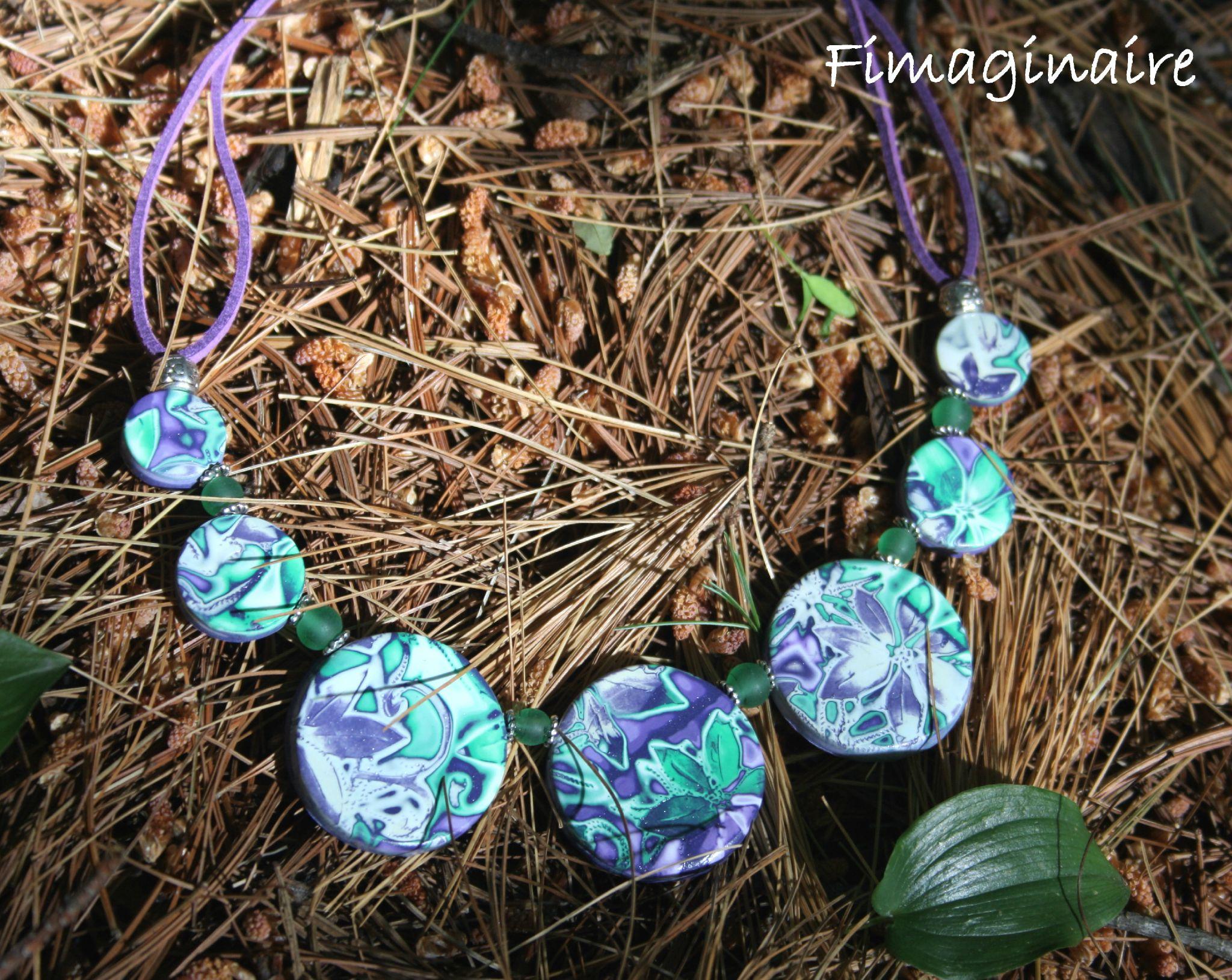 collier ronds mauves, verts et blancs - 20$