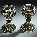 Master I. C., French, Limoges, <b>circa</b> <b>1600</b>-<b>1610</b>, Pair of salt cellars with the profiles of a nobleman and a lady