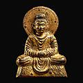A rare early Gandharan-<b>style</b> gilt-bronze votive figure of Shakyamuni Buddha, Sixteen Kingdoms, 4th – early 5th century