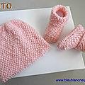 tuto tricot bebe, bonnet et chaussons roses, point riz